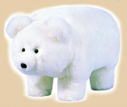 "Plush ""Frosty"" White Polar Bear Footstool"