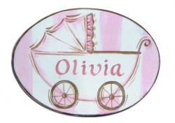 Personalized Oval Room Plaque With Ribbon- Girl