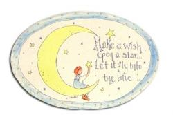Oval Room Plaque With Ribbon- Make A Wish Upon A Star