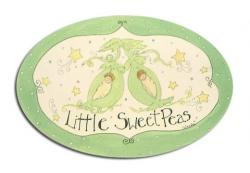 Oval Room Plaque With Ribbon- Little Sweet Peas