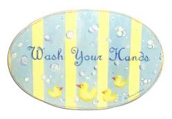 Oval Room Plaque With Ribbon- Wash Your Hands