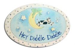 Oval Room Plaque With Ribbon- Hey Diddle Diddle