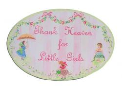 Oval Room Plaque With Ribbon- Thank Heaven For Little Girls
